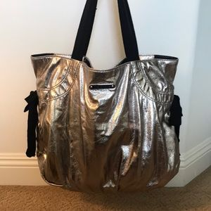 Juicy Couture silver tote bag.